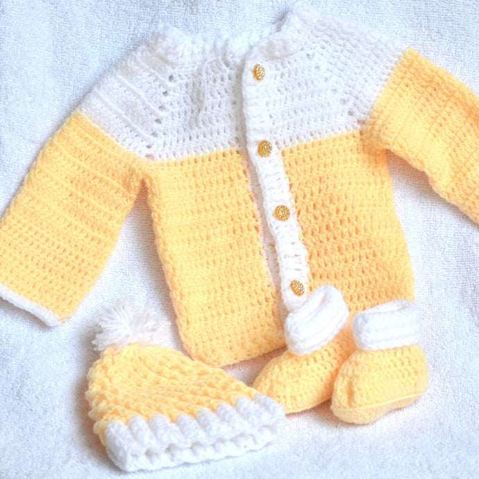 Knitted / Crochet Baby Jersey / Overcoat, Hat, Socks Set