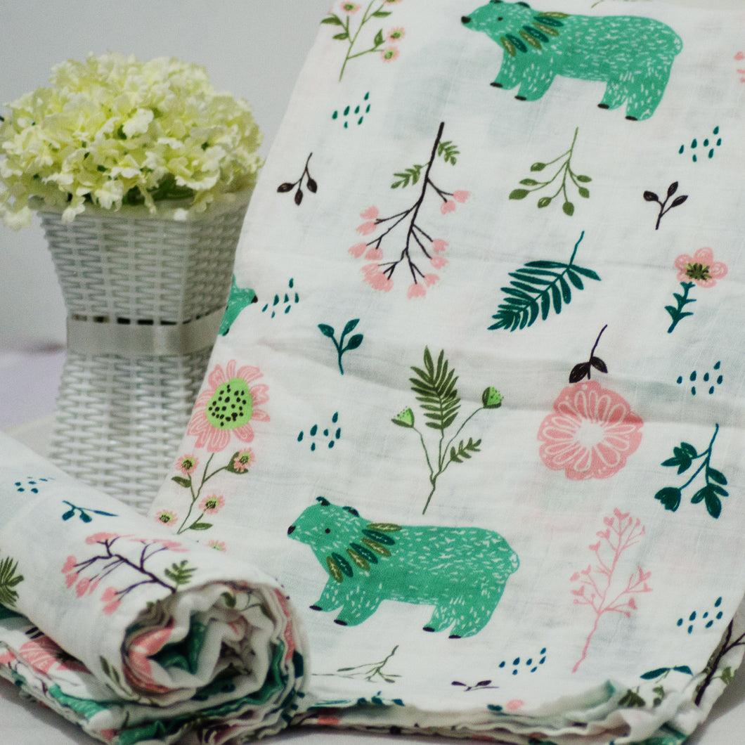 Muslin Swaddle Blankets - Square 110 x 120 cm Collection - BabySpace Shop