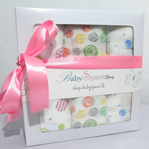 Baby Muslin Swaddle Blanket Gift Box - 3 Towels in Mixed Designs