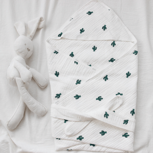 Muslin Hooded Baby Blanket