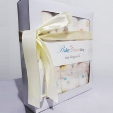 Load image into Gallery viewer, Baby Muslin Swaddle Blanket Gift Box - 3 Towels in Single Design - BabySpace Shop