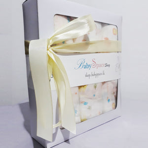 Baby Muslin Swaddle Blanket Gift Box - 3 Towels in Single Design - BabySpace Shop