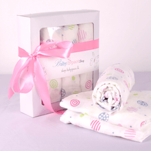 Baby Muslin Swaddle Blanket Gift Box - 3 Towels in Single Design