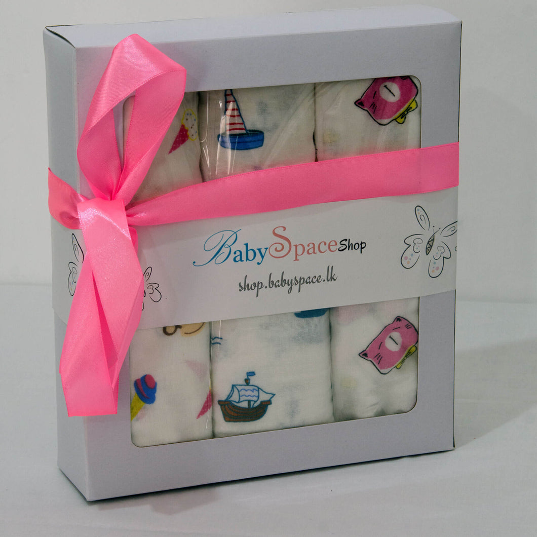 Baby Muslin Swaddle Blanket Gift Box - 3 Towels in Mixed Designs - BabySpace Shop
