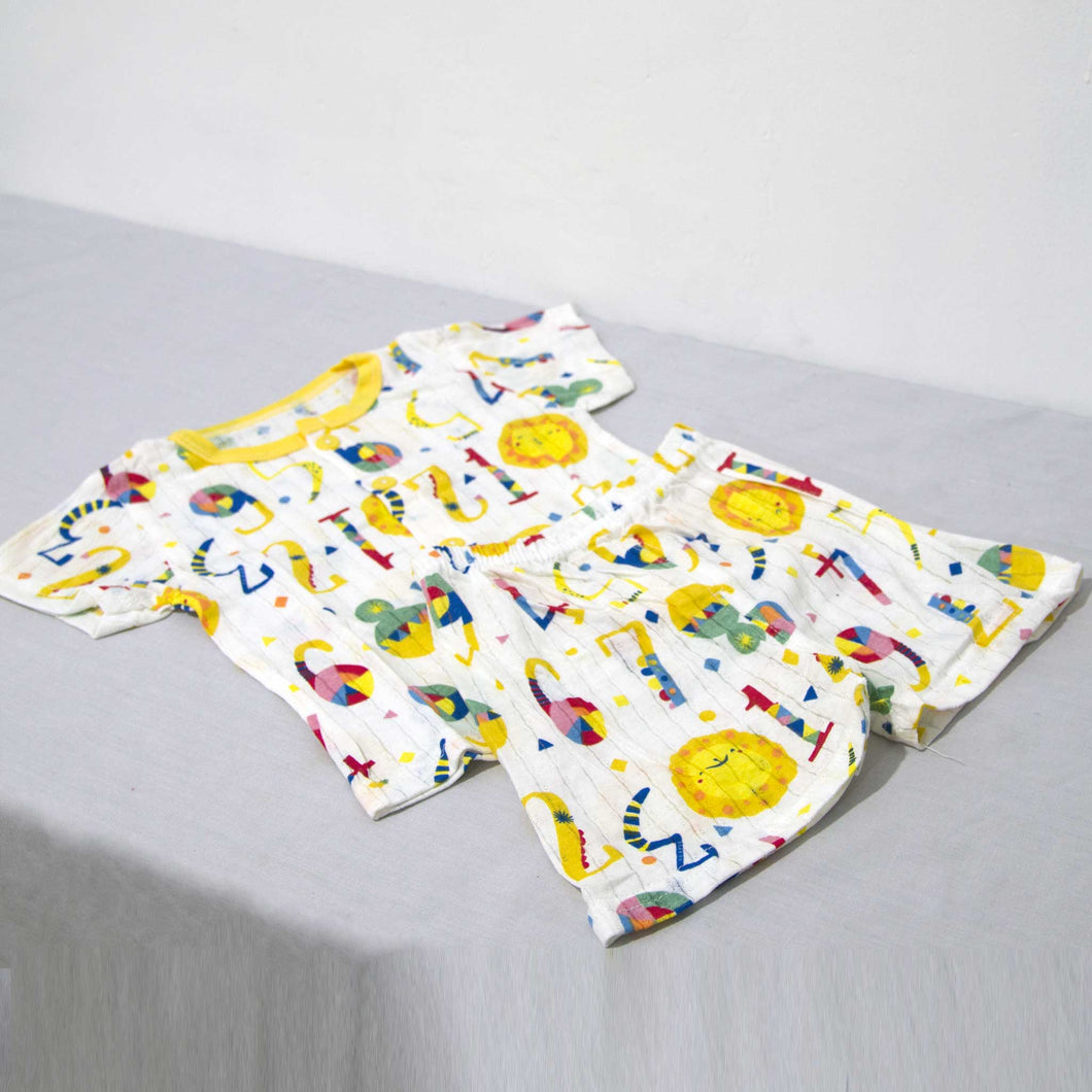 Cotton Printed Short Sleeve 2 Piece Suit