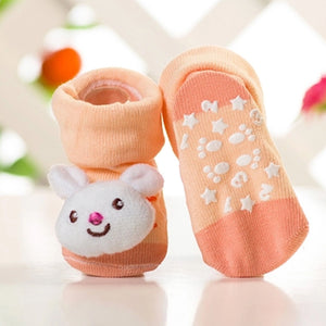 Anti Slip 3D Animal Head Baby Socks with Rubber Sole