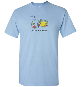 Lab T-shirt - Better With A Lab - Camping -  Lab Tee From Lab HQ