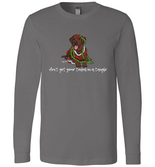 Chocolate Labrador T-shirt - Don't Get Your Tinsel In A Tangle Lab Tee From Lab HQ