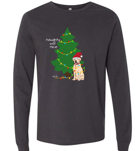 Yellow Lab T-shirt - Naughty And Nice Christmas Lab Tee From Lab HQ