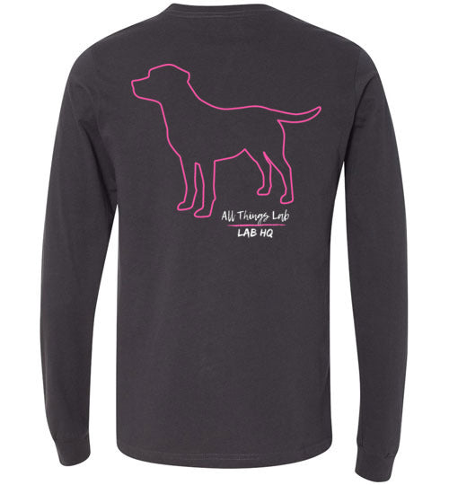 Labrador Shirt - Labs Unleashed Pink Silhouette Labrador T-shirt From Lab HQ