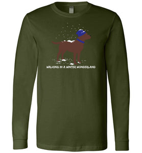 Chocolate Labrador T-shirt - Walking In A Winter Wonderland Lab Tee From Lab HQ