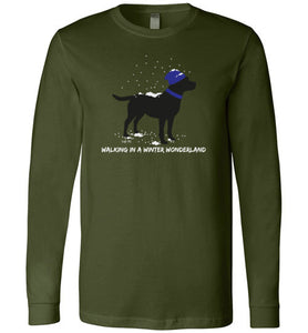 Black Labrador T-shirt - Walking In A Winter Wonderland Lab Tee From Lab HQ