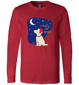 Yellow Labrador T-shirt - Merry And Bright Christmas Lab Tee From Lab HQ