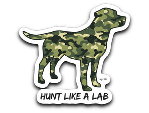 Labrador Stickers - Hunt Like A Lab Green Camo Labrador Decals From Lab HQ