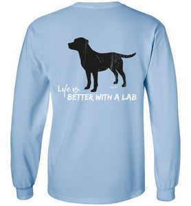 LABRADOR T-SHIRT- BLACK - LIFE IS BETTER WITH A LAB T-SHIRT FROM LAB HQ