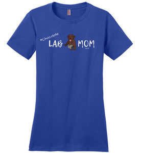"Chocolate Lab T-shirt - Chocolate ""Lab MOM"" T-shirt From Lab HQ"