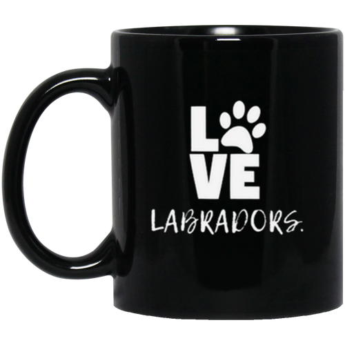 Black LOVE LABRADORS Mug - Labrador Retriever Mug From Lab HQ