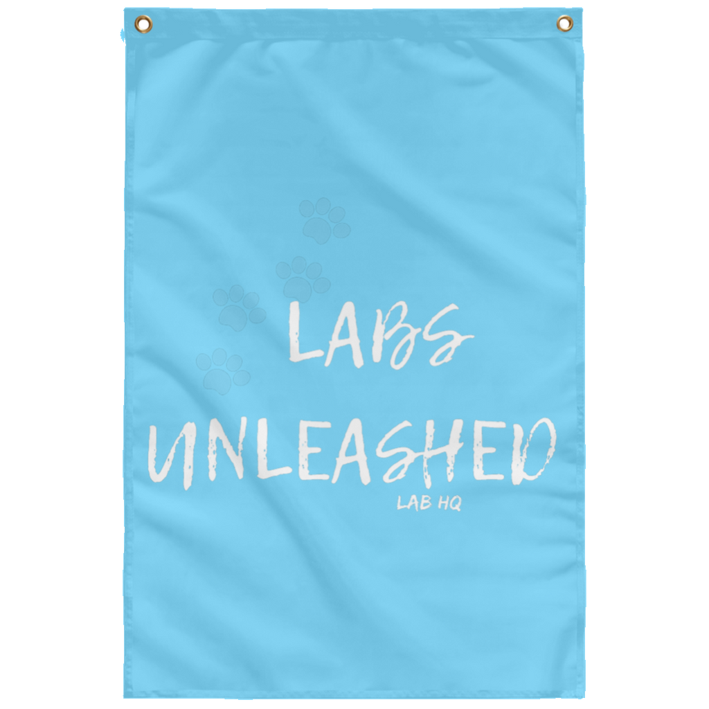 labs unleashed paws teal SUBWF Sublimated Wall Flag