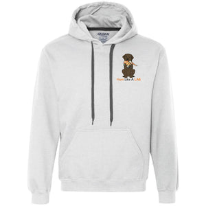 Labrador Retriever Hoodie Hunt Like A Lab - Chocolate Lab With Bird