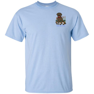 Chocolate Labrador Retriever T-Shirts For Duck Hunters At Live-Like-A-Lab.com - Blue