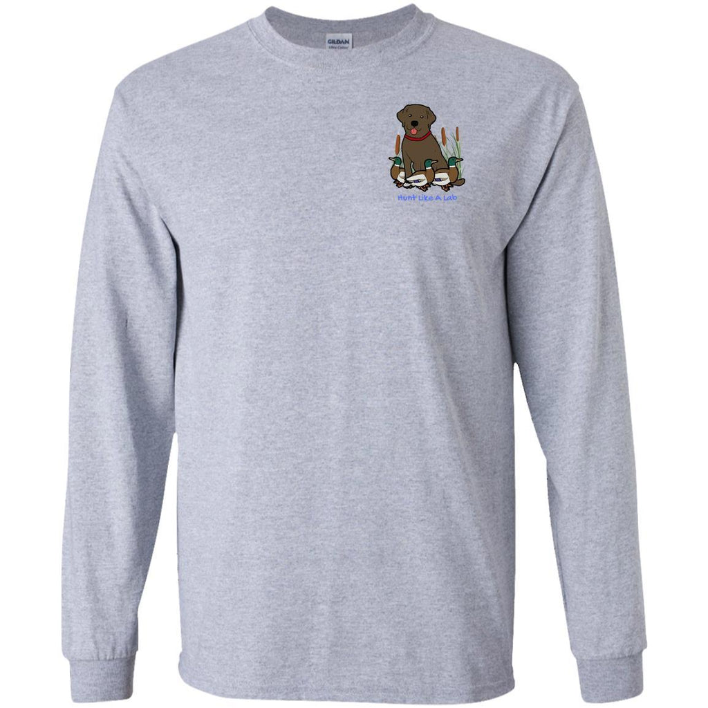 Chocolate Labrador Retriever T-Shirts For Duck Hunters At Live-Like-A-Lab.com - Long Sleeve - Gray