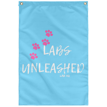 labs unleashed paws pink SUBWF Sublimated Wall Flag