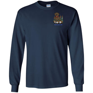Chocolate Labrador Retriever T-Shirts For Duck Hunters At Live-Like-A-Lab.com - Long Sleeve -  Navy