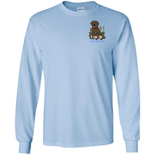 Chocolate Labrador Retriever T-Shirts For Duck Hunters At Live-Like-A-Lab.com - Long Sleeve -  Blue