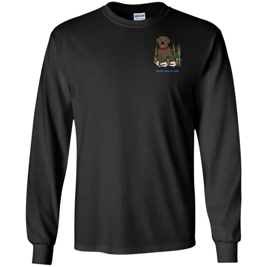 Chocolate Labrador Retriever T-Shirts For Duck Hunters At Live-Like-A-Lab.com - Long Sleeve - Black