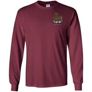 Chocolate Labrador Retriever T-Shirts For Duck Hunters At Live-Like-A-Lab.com - Long Sleeve - Maroon