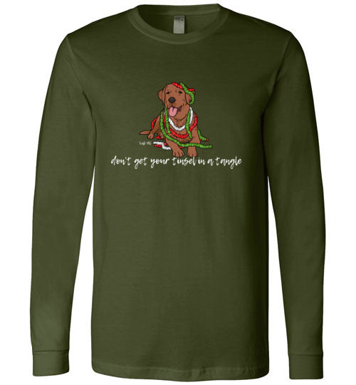 Red Fox Labrador T-shirt - Don't Get Your Tinsel In A Tangle Lab Tee From Lab HQ