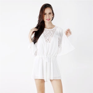 Women Short Jumpsuit - White Lace - Highline Station