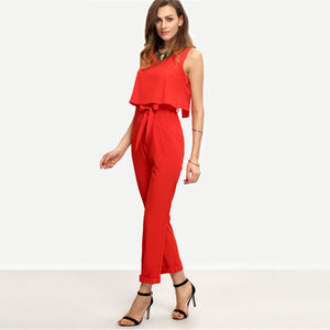 Red Sleeveless Bow Tie Waist Jumpsuits - Women - Highline Station