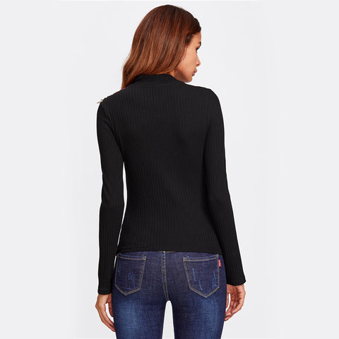 Ribbed Knit Basic Tee Women Black High Neck Long Sleeve Casual T-shirt - Highline Station