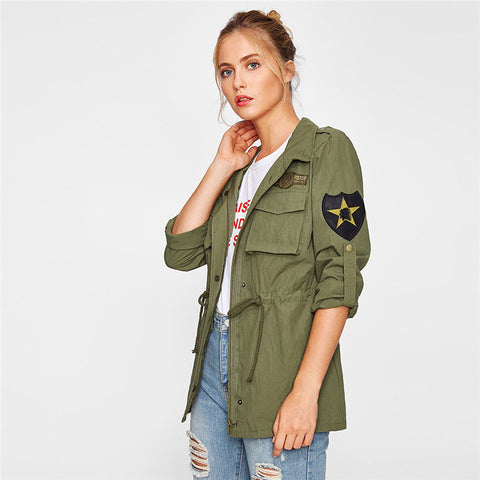 Drawstring Waist Patch Sleeve Utility Jacket Green - Highline Station