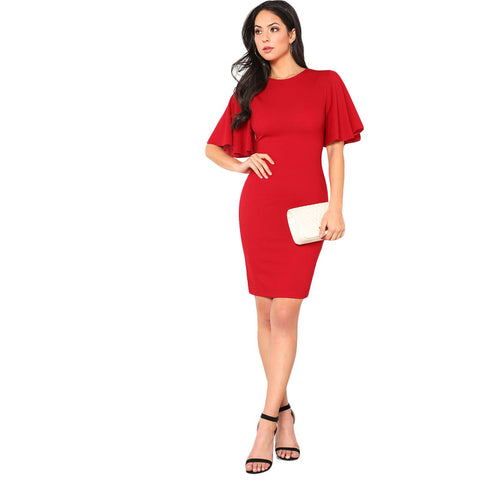 Red Exaggerate Bell Sleeve Plain Pencil Dress - Highline Station