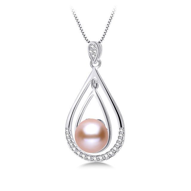 Genuine s925 sterling silver pendants pearl necklace fashion brandaxy genuine s925 sterling silver pendants pearl necklace fashion aloadofball Image collections
