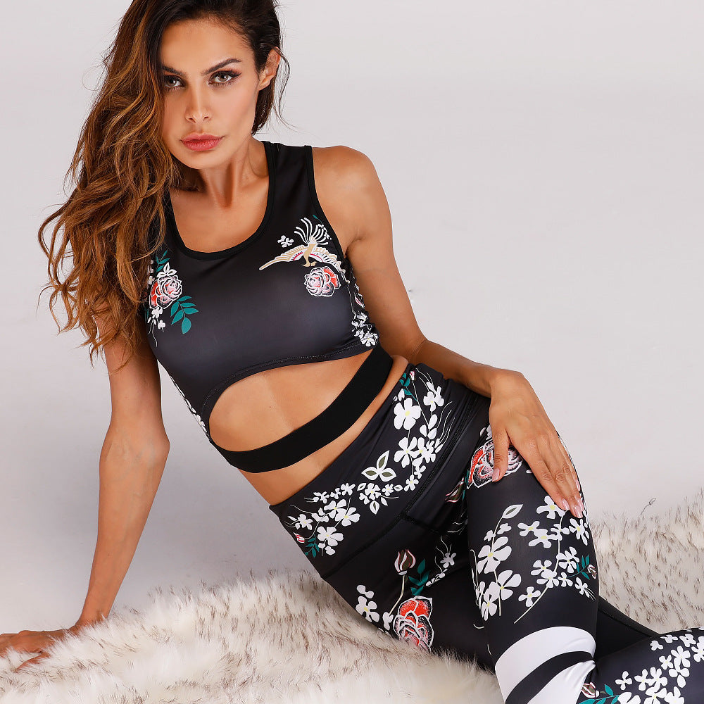 f4990fc379bb ... Luxury Hot Print summer Lades' Sets Bodycon Crop Top and Capri Pants ...