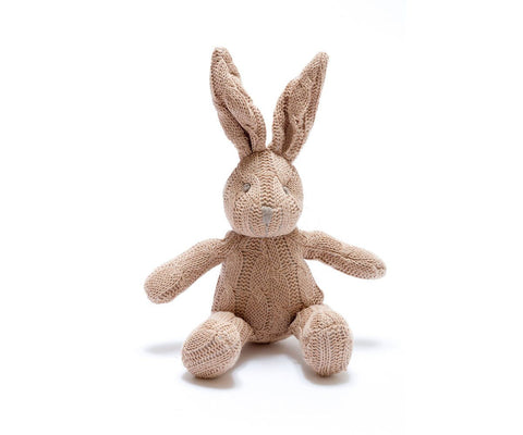 Knitted Organic Rattle Bunny - Brown