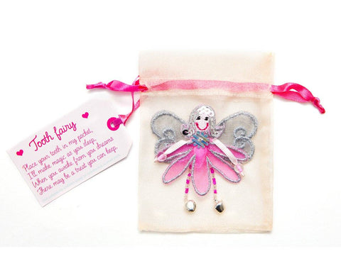 Tooth fairy pouch in pink with fairy