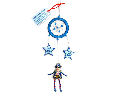 Blue and red pirate dream catcher