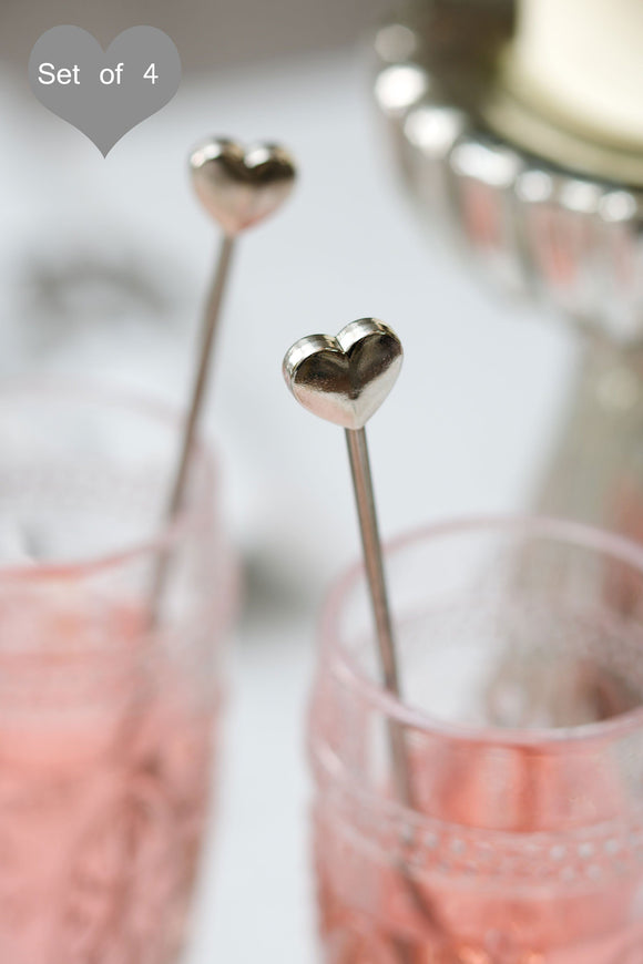 Heart Drink Stirrers by Retreat Home - ash-dove
