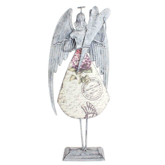 Heaven Sends Large Metal Angel with stand - ash-dove