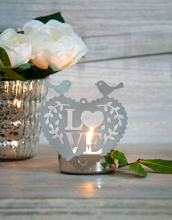 Love Birds Tea Light Holder by Retreat Home - ash-dove