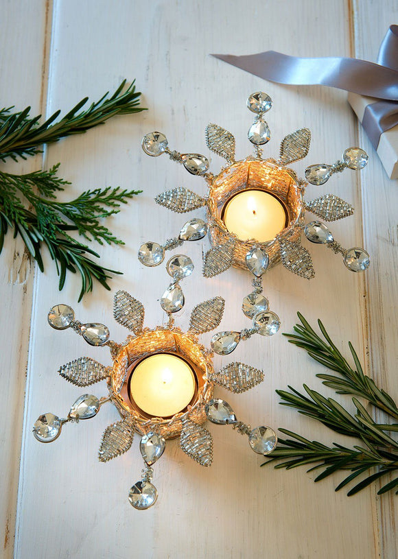 Snowflake crystal silver tea light holders by Retreat Home