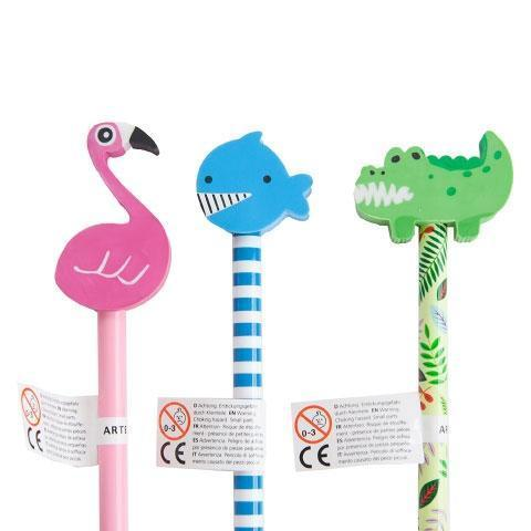 Animal Pencil Set with Erasers by Artbene - ash-dove