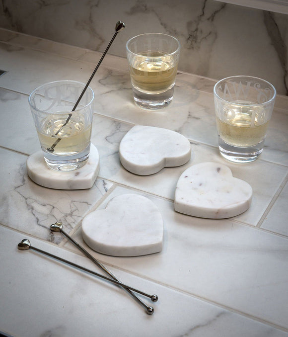 Marble Heart Drinks Coasters by Retreat Home - ash-dove