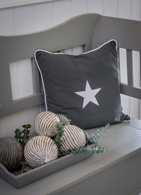 Larger Grey Star Applique Star Cushion by Retreat Home Shopping Retreat Home