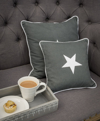 Grey Star Applique Star Cushion by Retreat Home Shopping Retreat Home