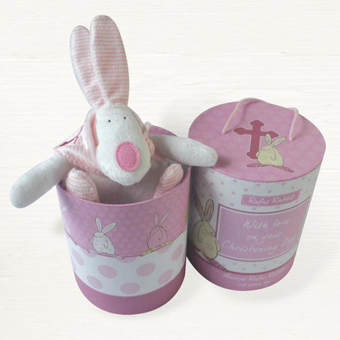 Rufus Rabbit Christening  Musical Cot Toy Pink - ash-dove